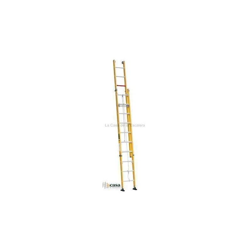 Escalera fibra de vidrio dos tramos extensible a cuerda