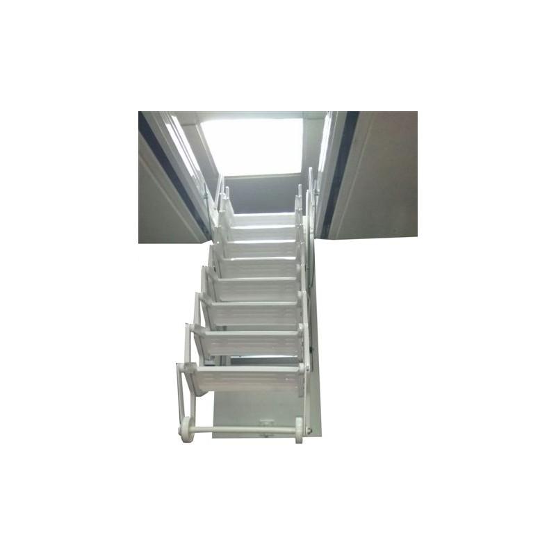 Escaleras con trampilla para techo acordeon acero lacada blanca