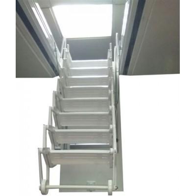 Escaleras para techo en acordeón acero lacada blanca