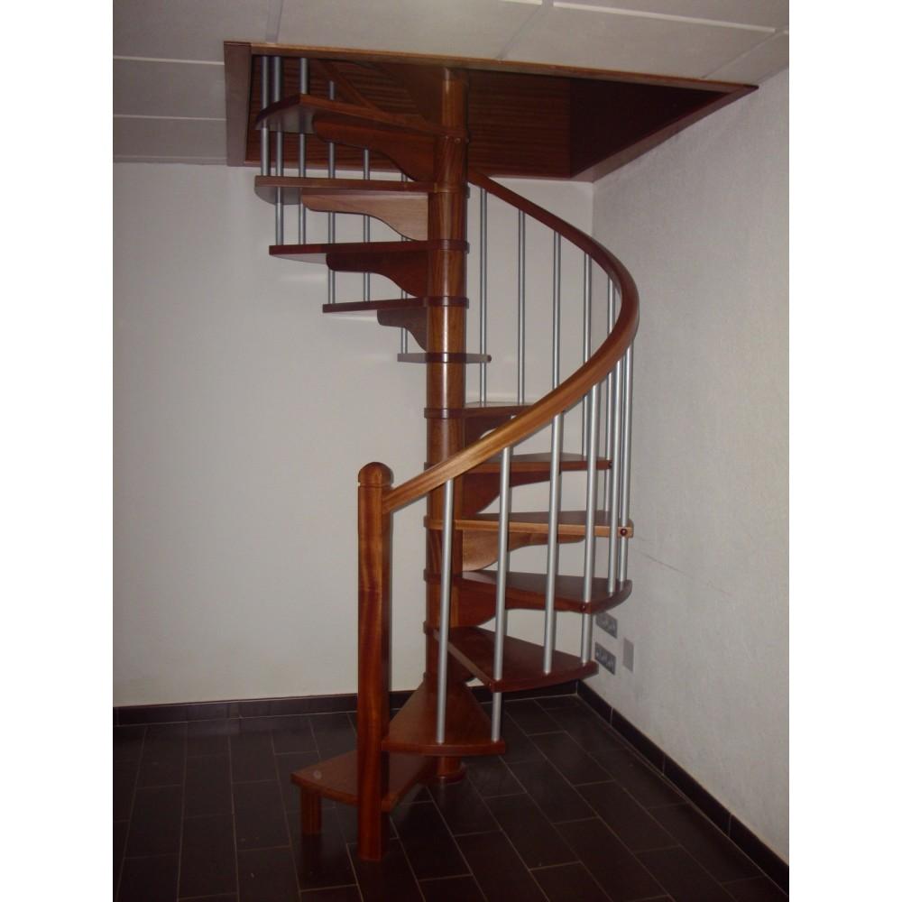Escalera caracol a medida en madera con tubo acero lacado