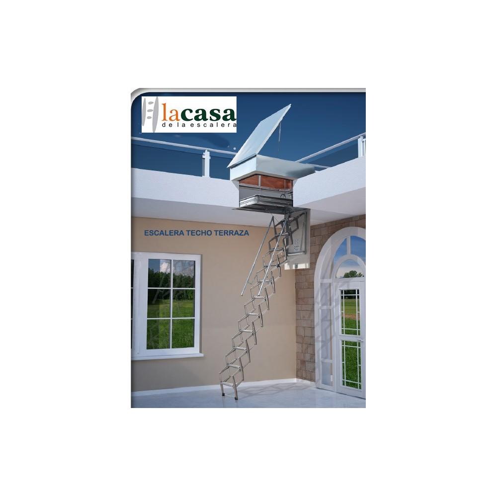 Escalera Techo acordeón acero galvanizado salida a terraza