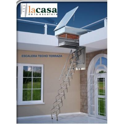 Escalera techo salida a terraza acordeón acero galvanizado