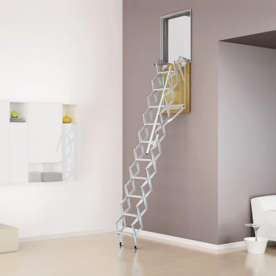 Escalera techo vertical para pared acordeón acero galvanizado