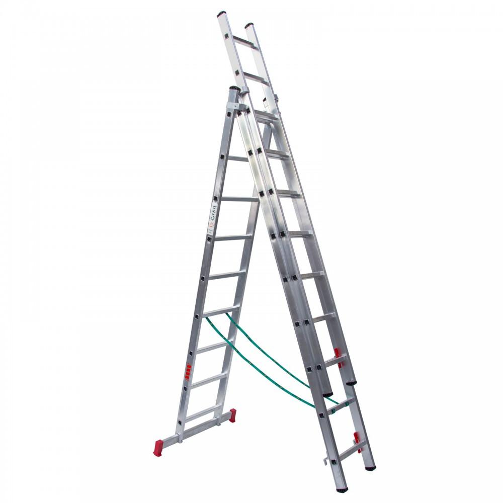 Escalera tres tramos en aluminio bricolaje convertible en tijera mas vertical y extensible