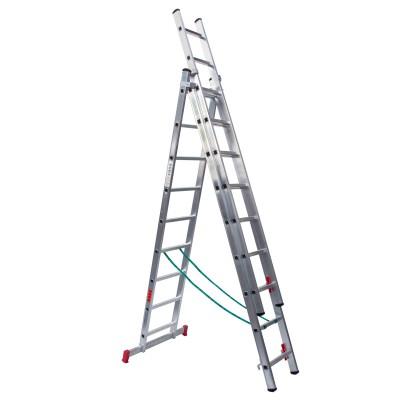 Escalera profesional aluminio tres tramos convertible perfil 65/67x25