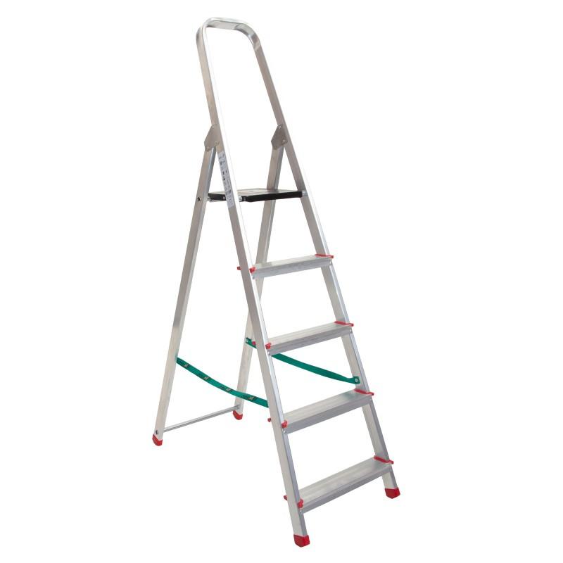 Escalera domestica en aluminio con peldaños de 8 cm de una sola subida