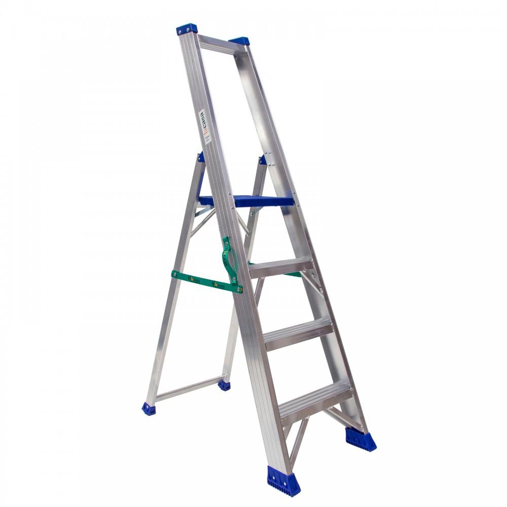 Escalera tijera en aluminio de una subida de peldaño ancho 8 cm