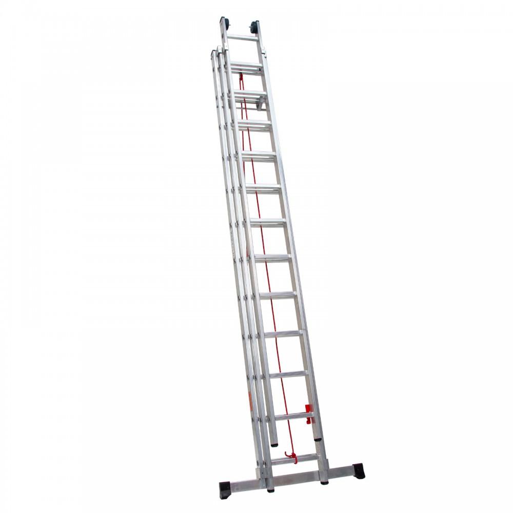 Escaleras tres tramos en aluminio profesional con cuerda extensible