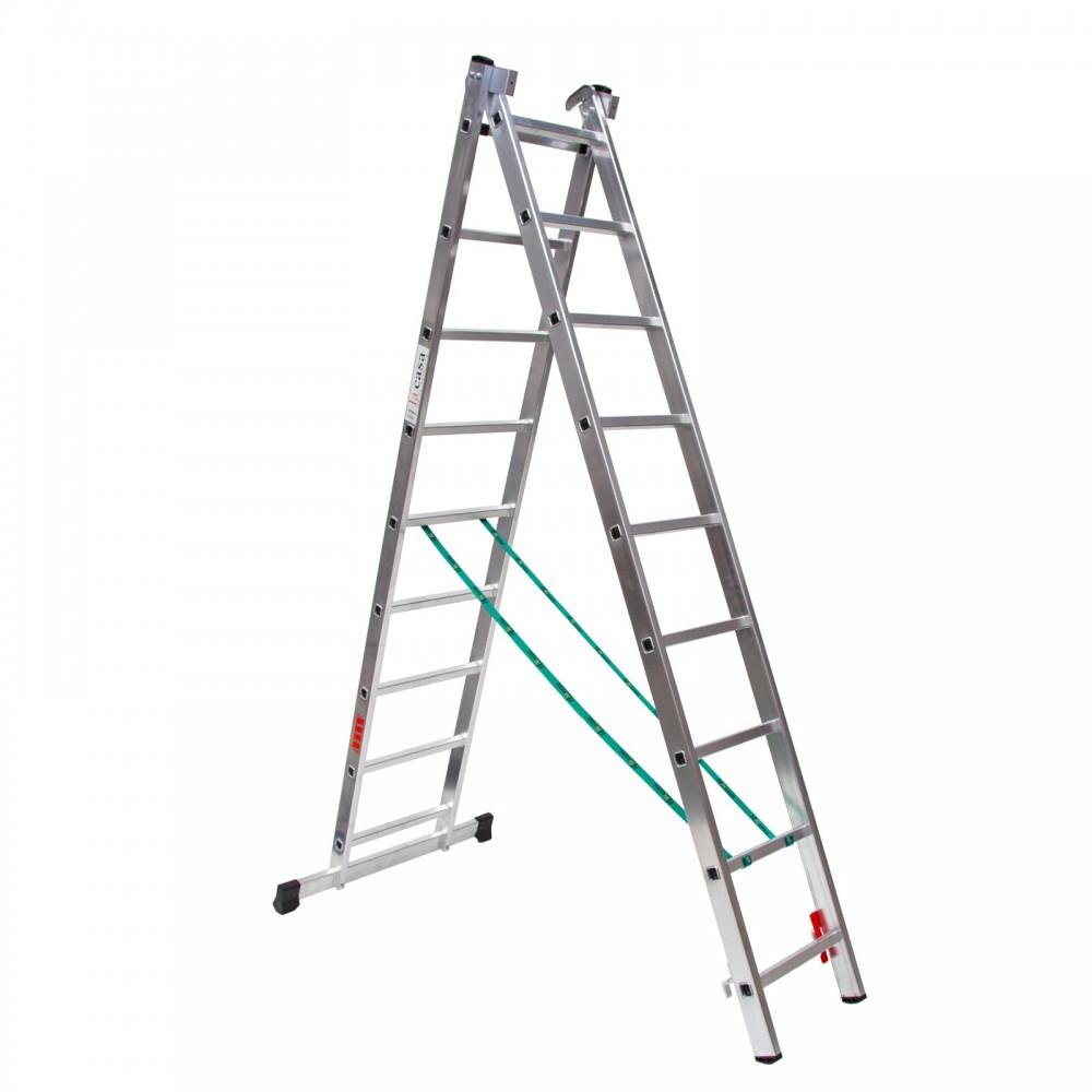Escalera de aluminio de dos tramos convertible en tijera y extensible