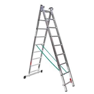 Escalera profesional aluminio dos tramos convertible perfil 67/80x25