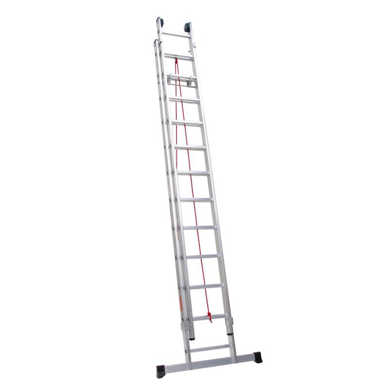 Escalera dos tramos con cuerda en aluminio profesional