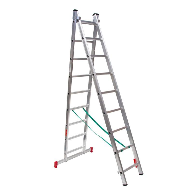 Escalera dos tramos en aluminio bricolaje convertible en tijera y extensible
