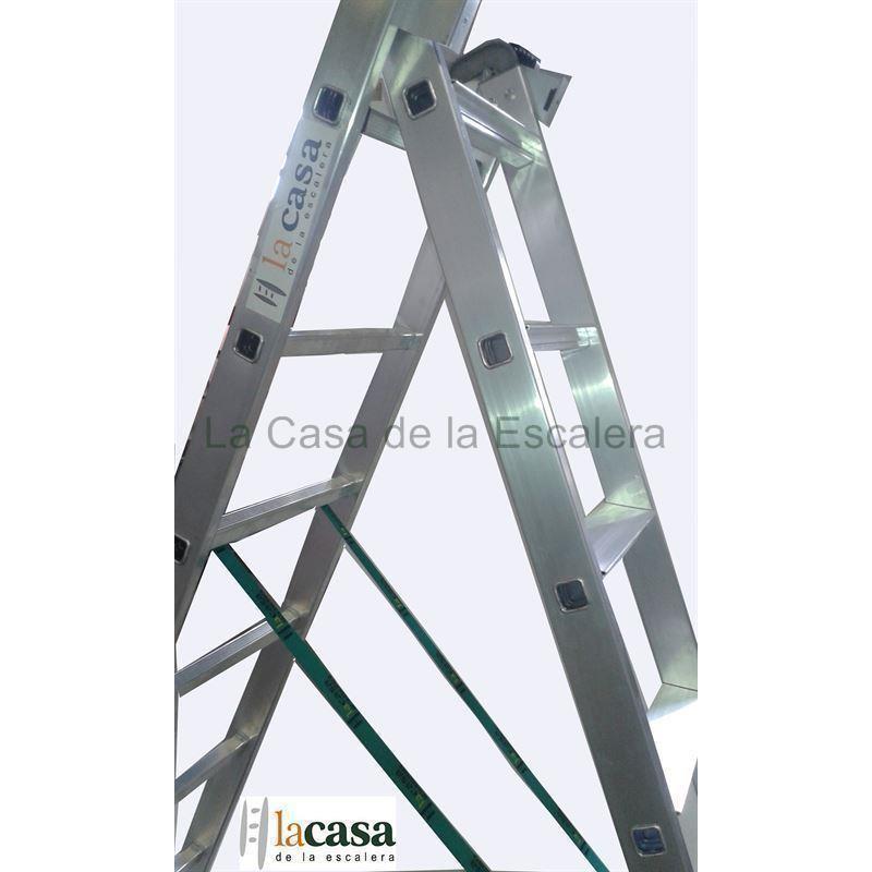 Escalera profesional aluminio dos tramos convertible peldaño de 8 cm perfil 67/80x25