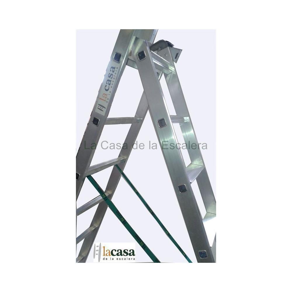 Escalera de dos tramos convertible con peldaño ancho