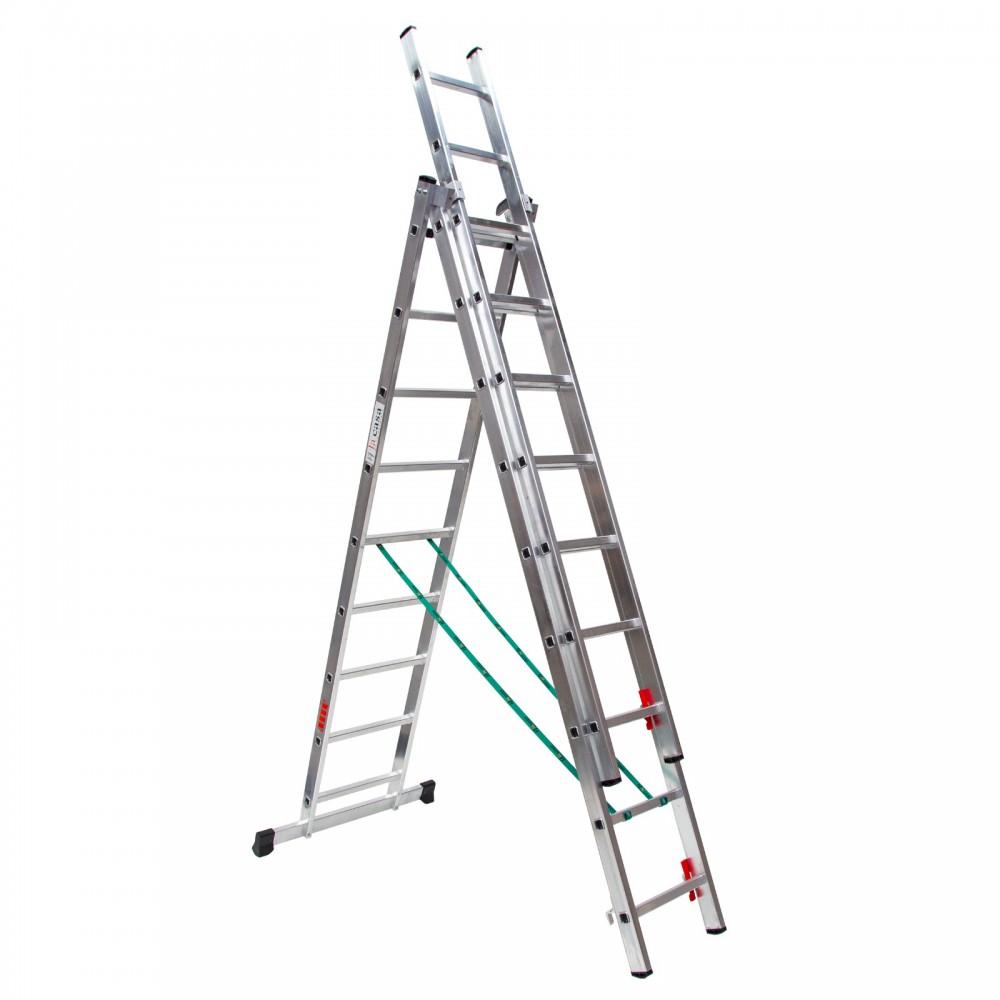 Escalera tres tramos convertible profesional en aluminio