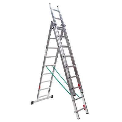 Escalera profesional aluminio tres tramos convertible perfil 67/80x25