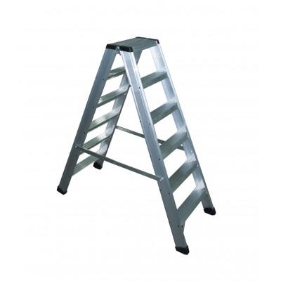 Escalera Tijera doble subida profesional aluminio peldaño ancho 8 cm