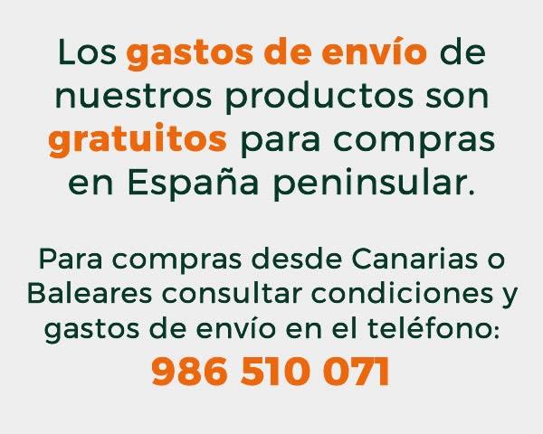 Gastos de envío gratuítos excepto a Baleares y Canarias